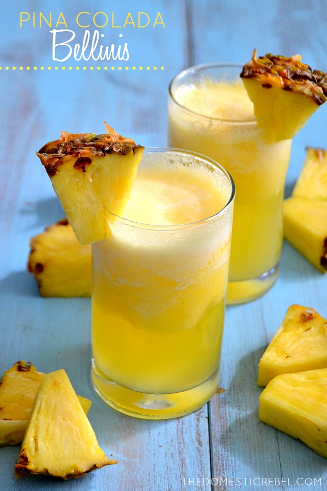 These Pina Colada Bellinis are the perfect summertime drink! Frothy, frosty and icy cold, they're bursting with juicy pineapple and sweet coconut flavors.