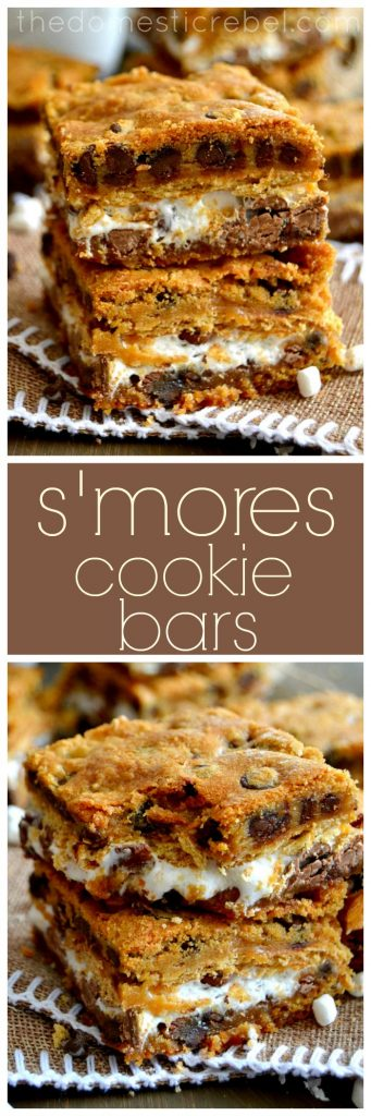 S'mores Cookie Bars collage
