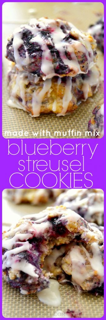 blueberry streusel cookies collage