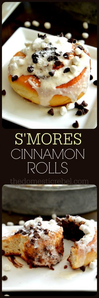 S'mores Cinnamon Rolls collage