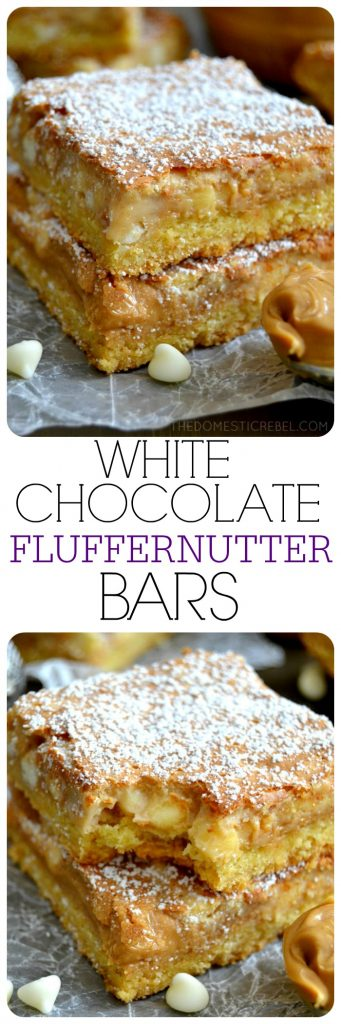 White Chocolate Fluffernutter Bars collage
