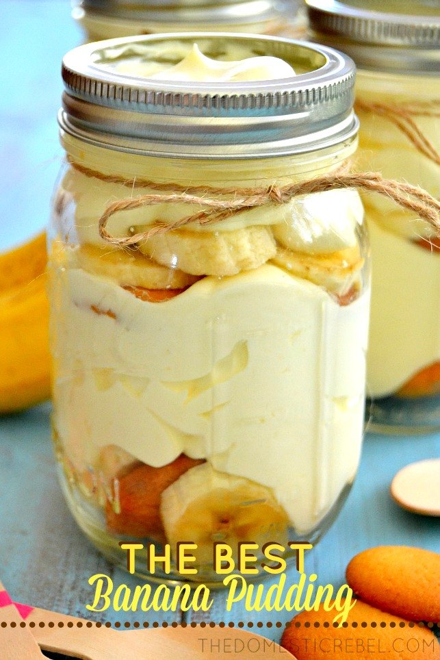 Best Banana Pudding in jars with cookies on blue background