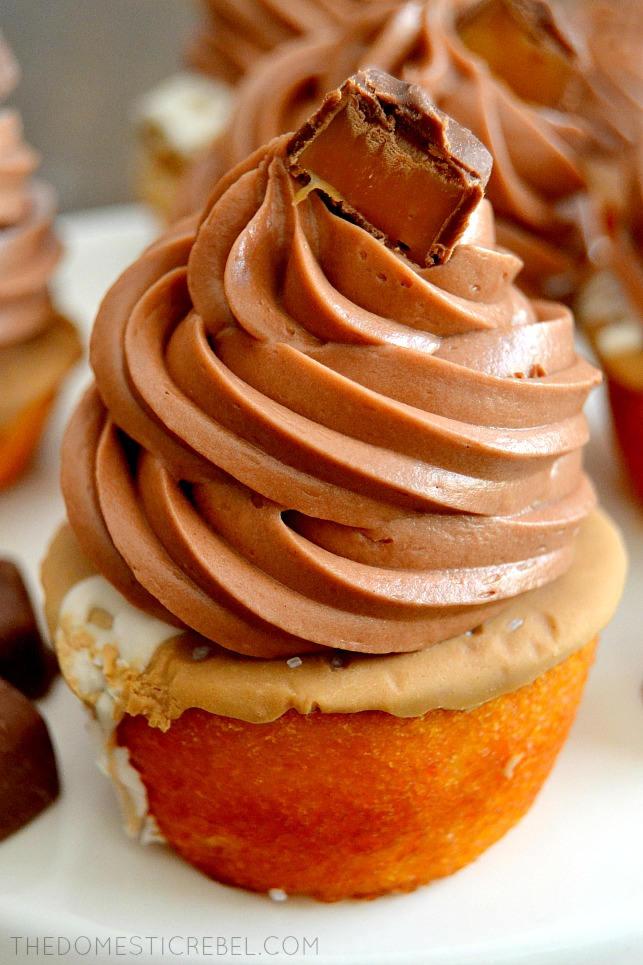Closeup of salted caramel cupcakes on white plate