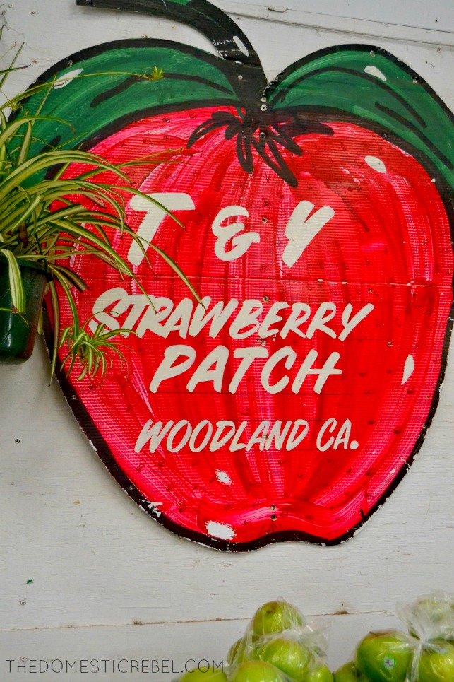 Photo of a strawberry patch sign in Woodland, CA