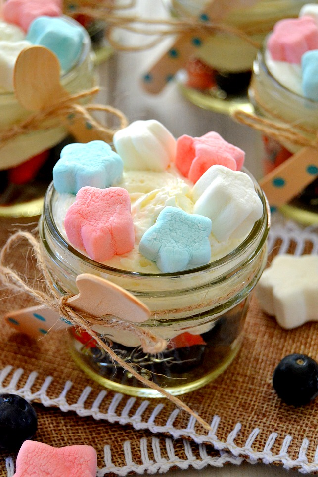 Patriotic Marshmallow Cheesecakes in mini jars with spoons