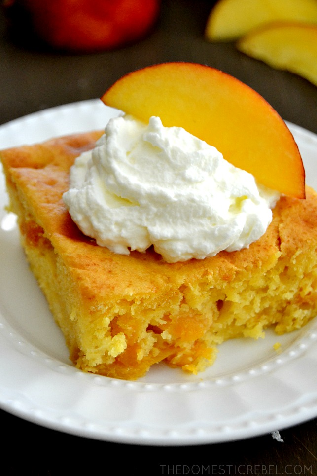Peach Snack Cake on white plate with peach slice