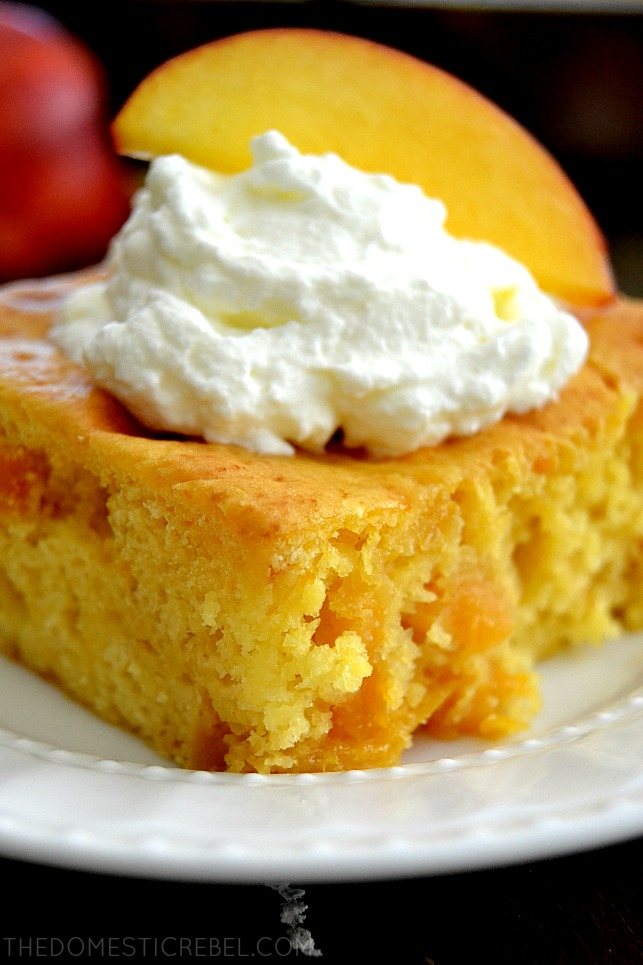 Closeup picture of Peach Snack Cake on white plate