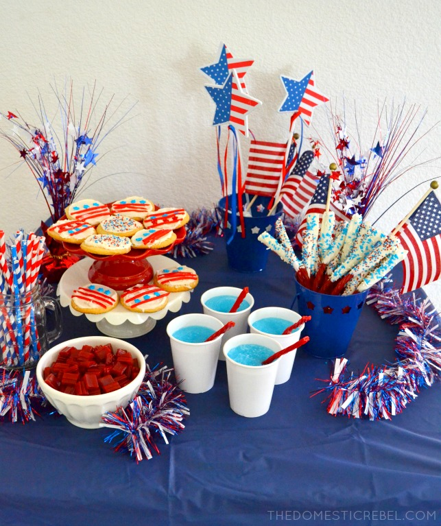 Celebrate the Fourth of July with a fun Twizzlers party! Featuring Blue Raspberry Slushies with Twizzlers straws, Dipped Twists and Stars & Stripes Cookies!