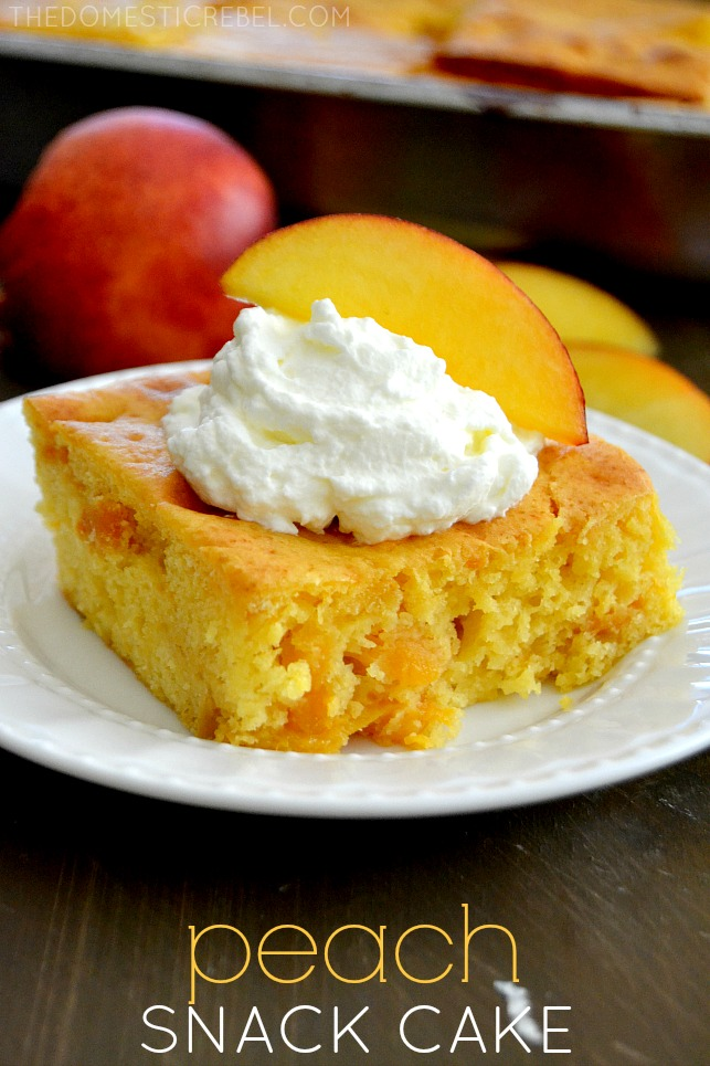 Peach Snack Cake on white plate with peaches in background