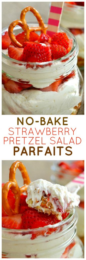 These Strawberry Pretzel Salad Parfaits are the perfect harmony of sweet, salty, creamy and crunchy. You'll love how easy this no-bake dessert recipe is!