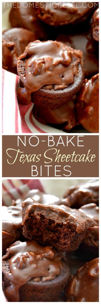 No-Bake Texas Sheetcake Bites collage