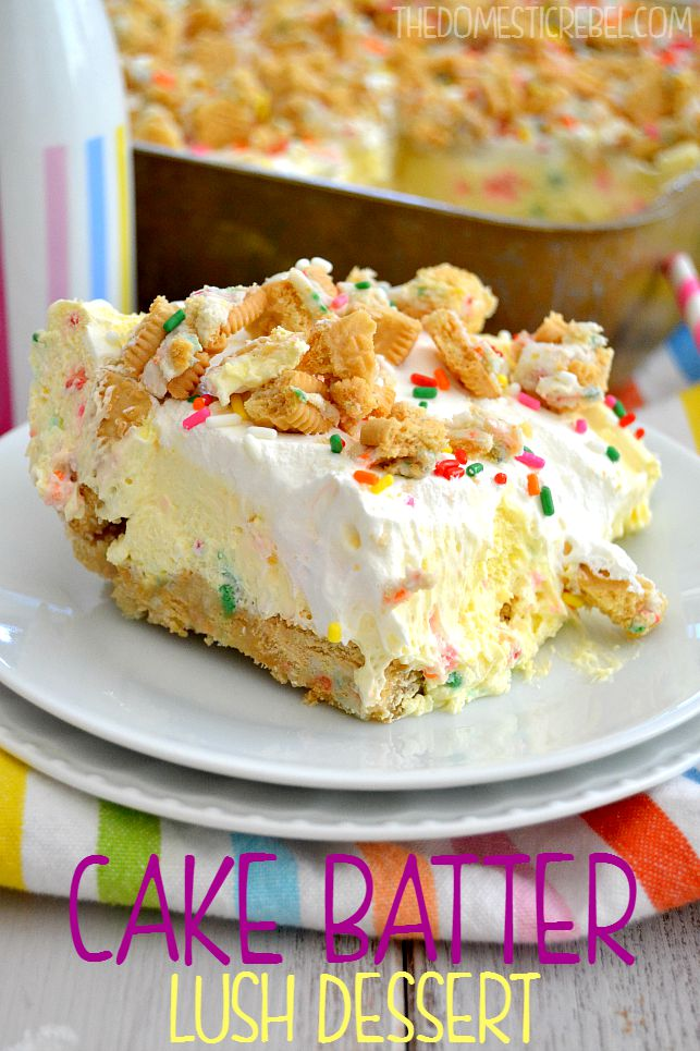CAKE BATTER LUSH DESSERT on white plates with rainbow fabric