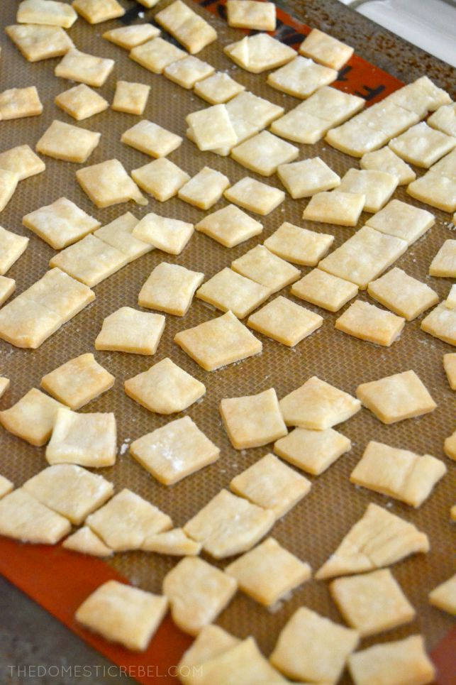 photo of pie crust pieces on baking sheet