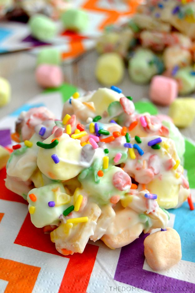 tutti-frutti cookie clusters on rainbow napkin