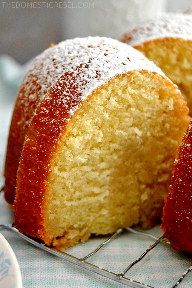 Closeup of Butter Cake on wire rack