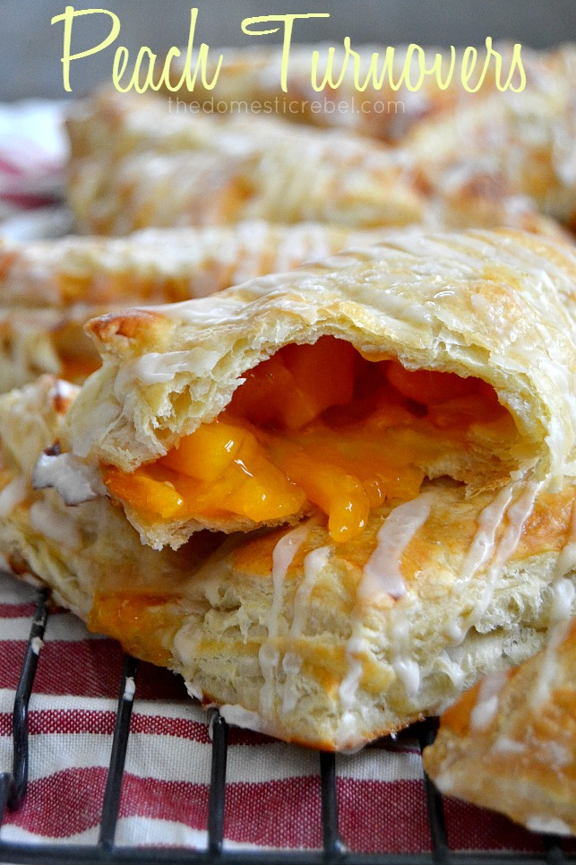 Peach Turnovers stacked on wire rack