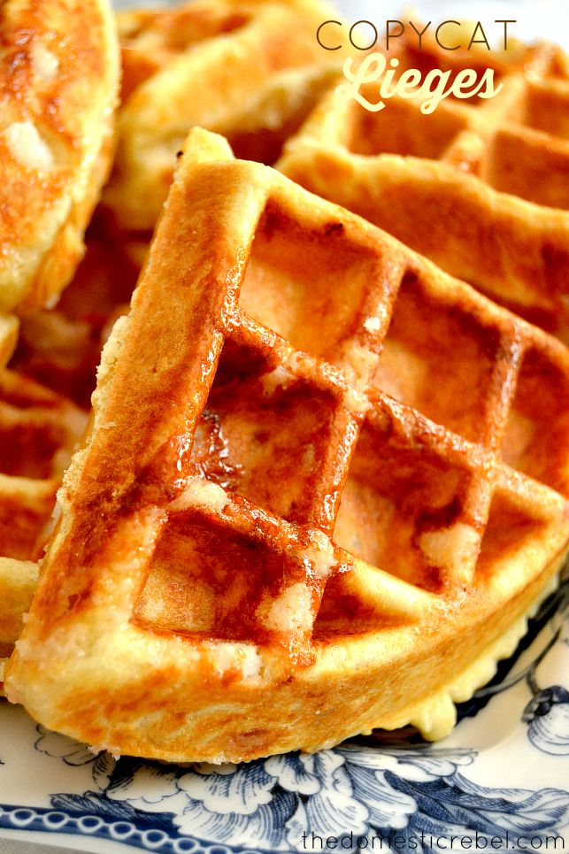 copycat liege waffles on blue and white plate