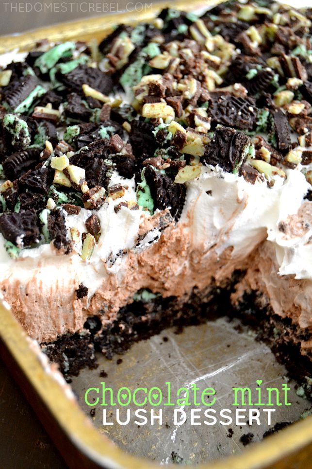 Chocolate Mint Lush Dessert in gold pan