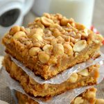 These buttery Peanut Brittle Bars taste just like the candy in a chewy, crunchy bar cookie form! They're easy to make, too!