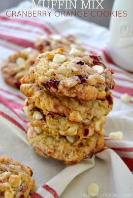 These Muffin Mix Cranberry Orange Cookies are to-die for! Soft, chewy, and bursting with juicy cranberries, sweet white chocolate, and zesty orange flavor. A can't miss cookie!