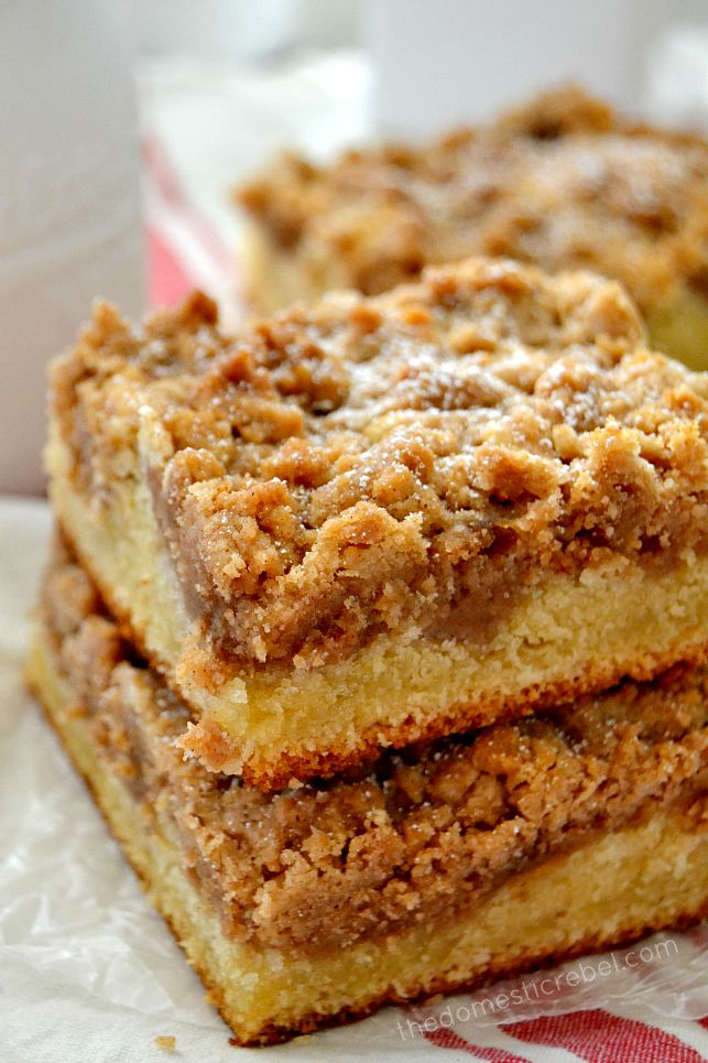NY Crumb Cake stacked on parchment paper