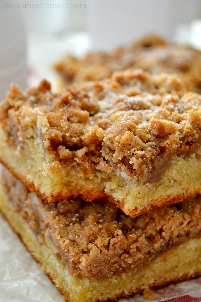 NY Super Crumb Cake with bite missing