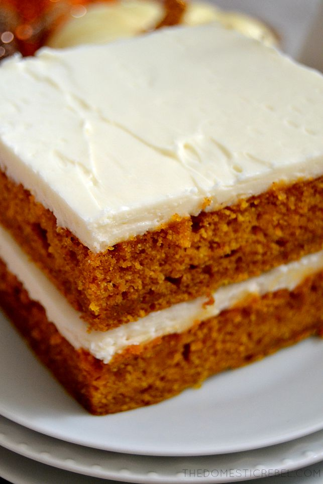 Closeup of Pumpkin Spice Sheet Cake on white plates
