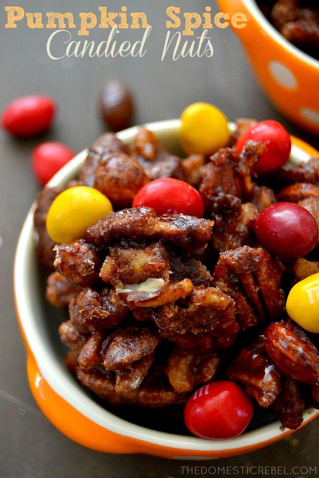 Pumpkin Spice Candied Nuts in orange bowl