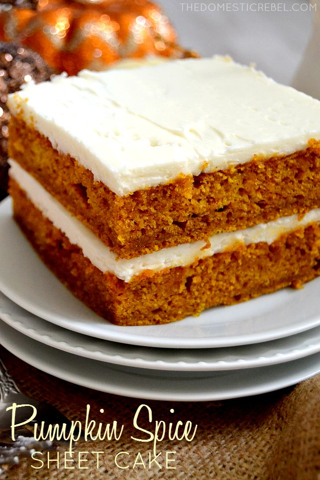 Pumpkin Spice Sheet Cake stacked on white plates and burlap