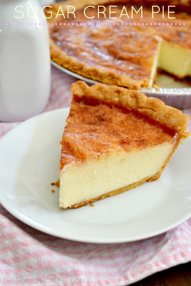 sugar cream pie slice on white plate