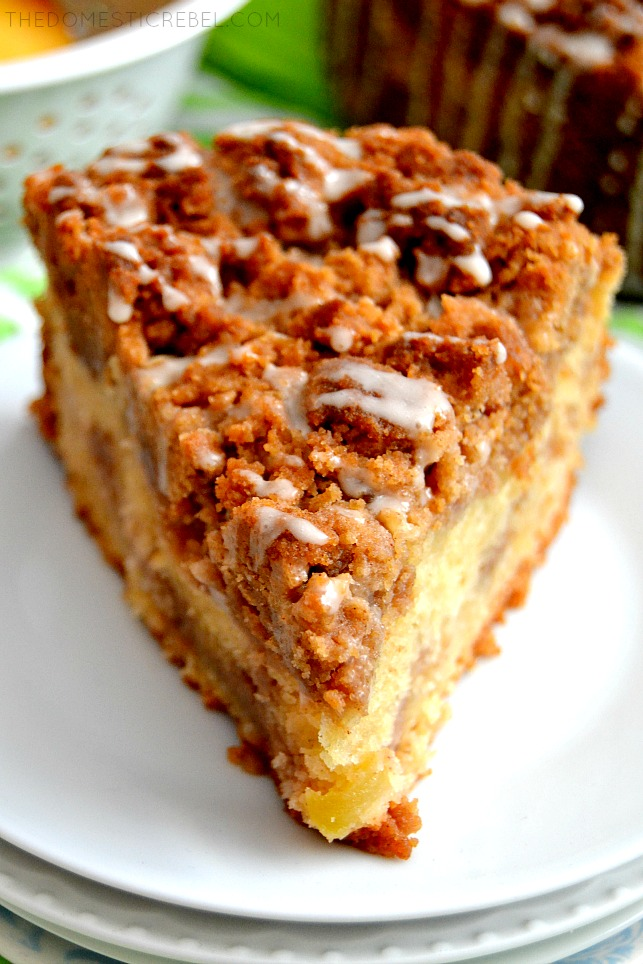 This Apple Cinnamon Crumb Cake is PACKED with flavor and is plentiful with huge, cinnamon-scented crumbs! The perfect fall pastry right here!