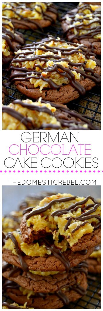 german chocolate cake cookies collage