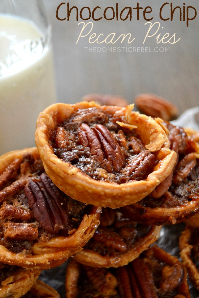 chocolate chip pecan pies stacked on dark background with milk