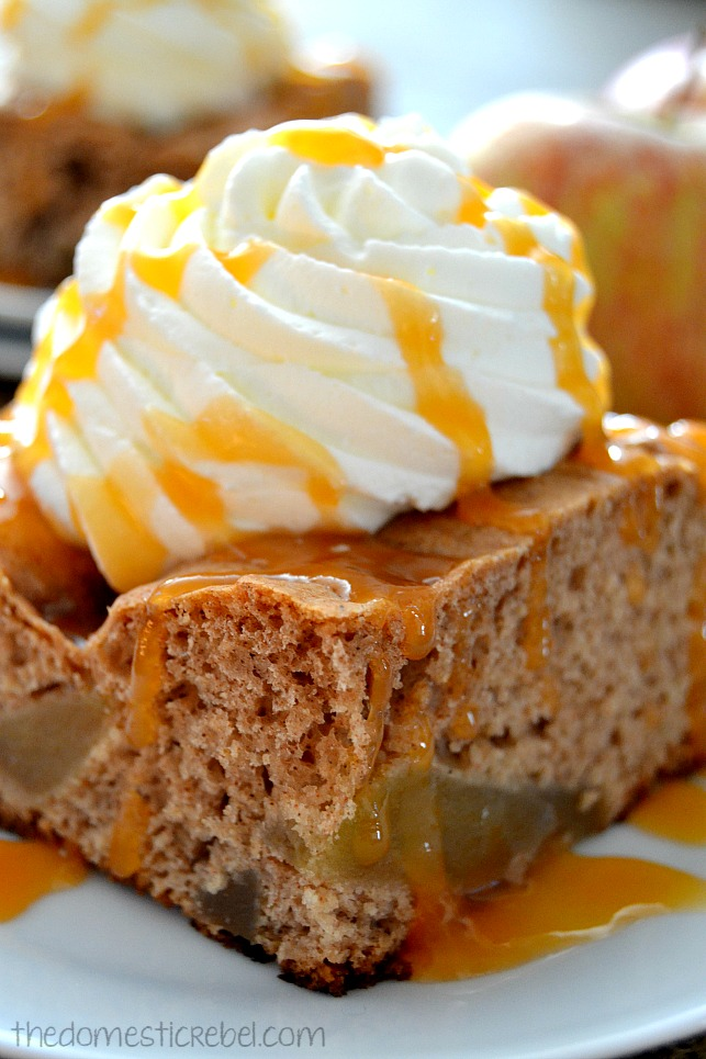 closeup of caramel apple spice cake on white plate