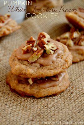 Pumpkin White Chocolate Pecan Cookies