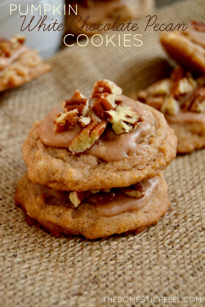 Pumpkin White Chip Pecan Cookies stacked on burlap