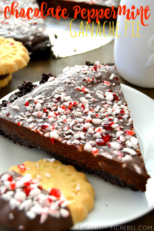 chocolate peppermint ganache pie on white plate with cookies