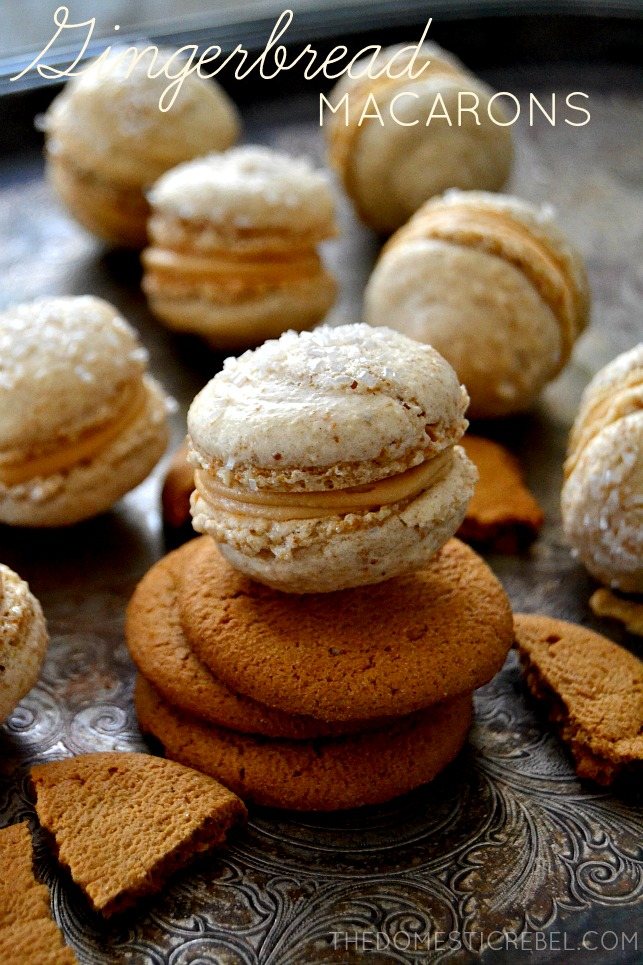 These Gingerbread Macarons are surprisingly simple to make and taste amazing! Sweet, spicy, crisp and chewy and filled with a creamy Biscoff center, they're the perfect holiday treat!