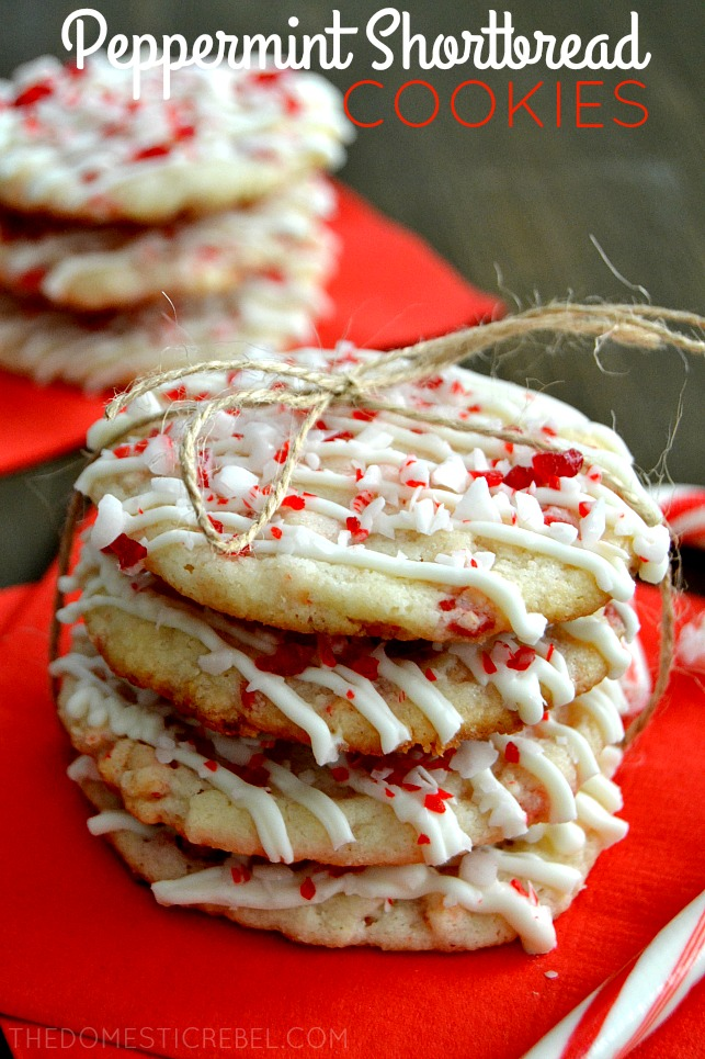 These Peppermint Shortbread Cookies could not be simpler to whip up! They start with a mix and are jazzed up with the addition of cool peppermint chips and a healthy drizzle of white chocolate.