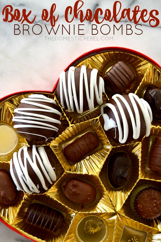 Box of Chocolates Brownie Bombs arranged in a box of chocolates on marble background