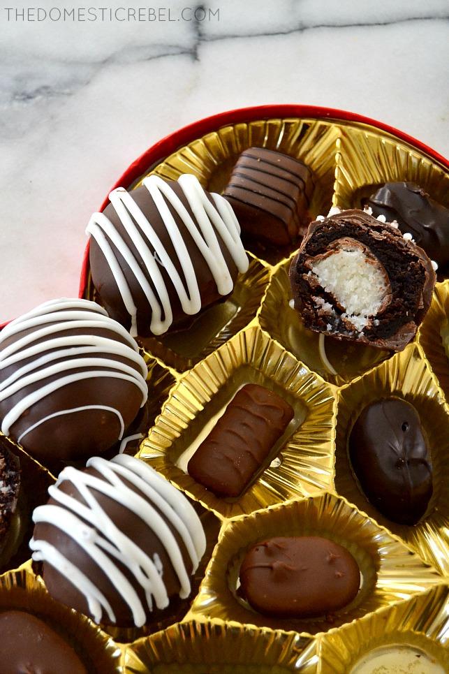 Brownie Bomb split in half nestled in box of chocolates