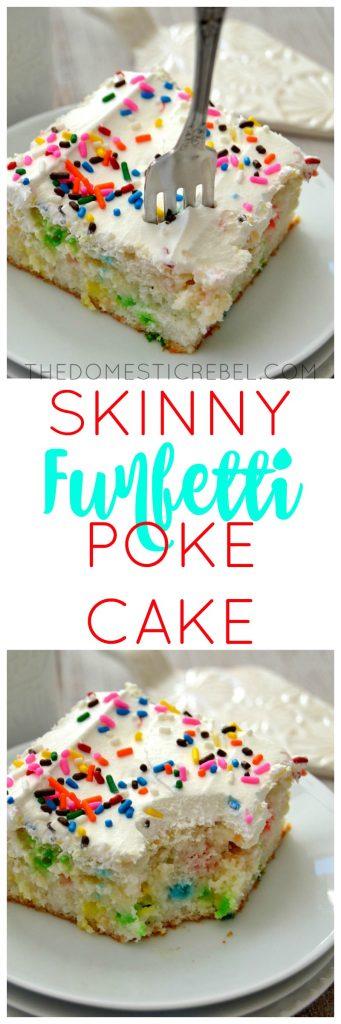 Skinny Funfetti Poke Cake collage