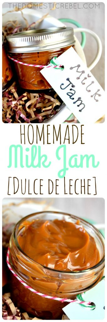 This Homemade Dulce de Leche (or Milk Jam) is SO EASY and made with only ONE ingredient! Rich, buttery, creamy and gooey, it works in a variety of recipes or on its own as a gift!