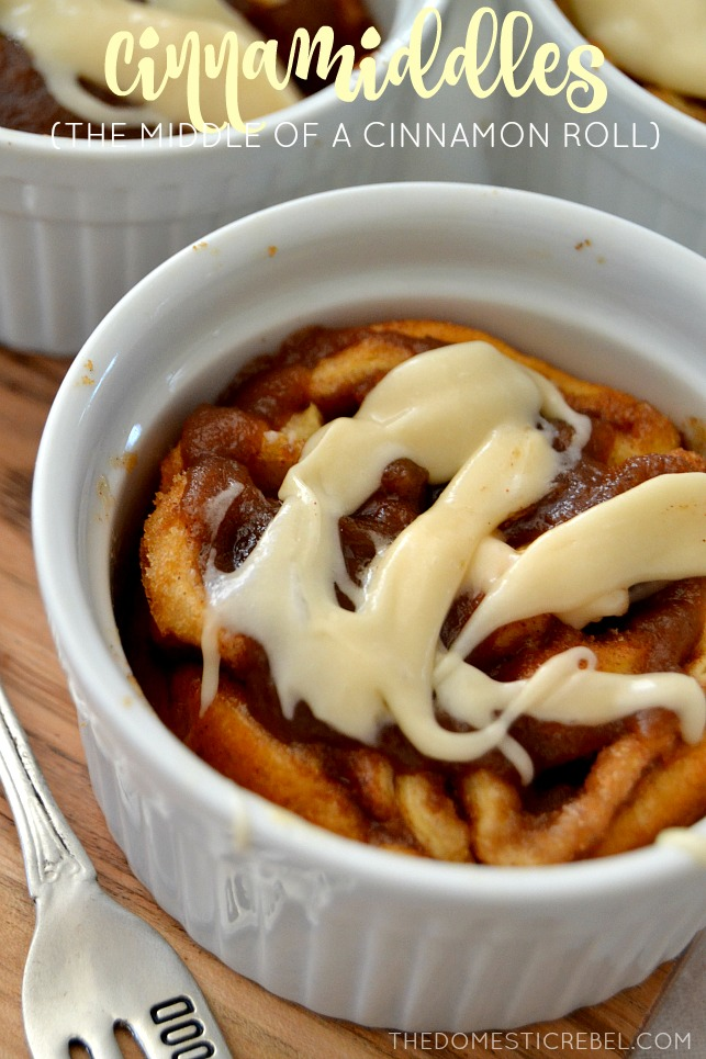 Cinnamiddles in white ramekins with a fork