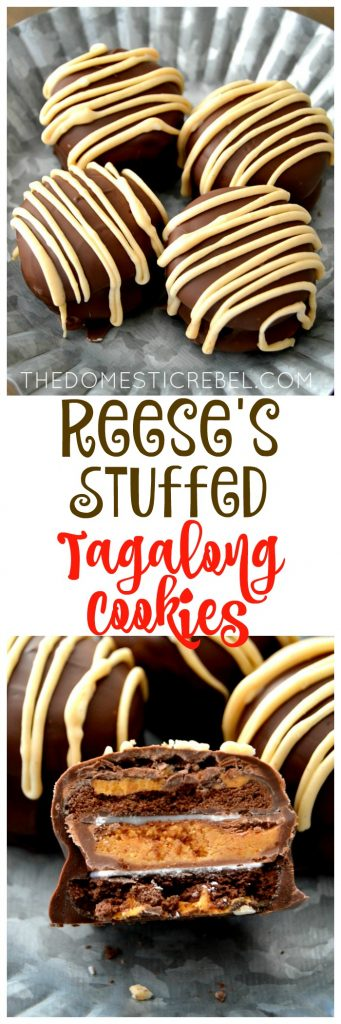 Reese's Stuffed Tagalong Cookies collage