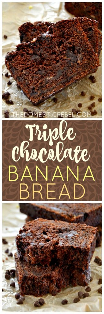This Triple Chocolate Banana Bread is so moist, soft and tastes just like chocolate cake! The SECRET INGREDIENT takes this bread over the top! Breakfast has never tasted so good :)