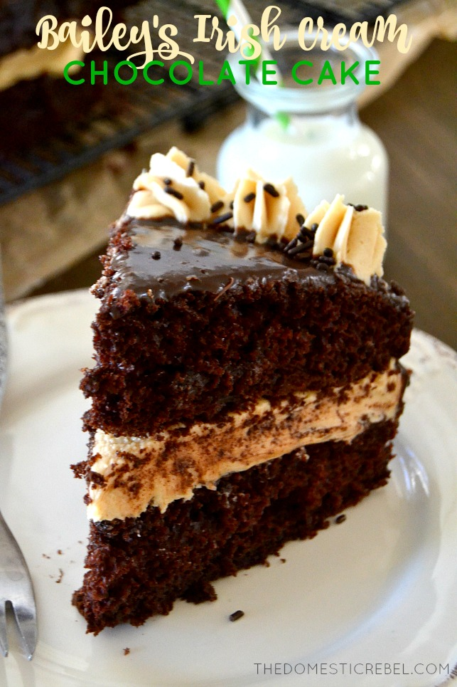 Bailey's Irish Cream Chocolate Cake slice on white plate with milk in background