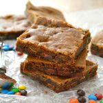 These Brown Butter Espresso M&M's Blondies are incredible! Such amazing flavor, rich and deep with espresso and vanilla. Sea salt on top and M&M's add a nice crunch. You'll love this easy recipe!