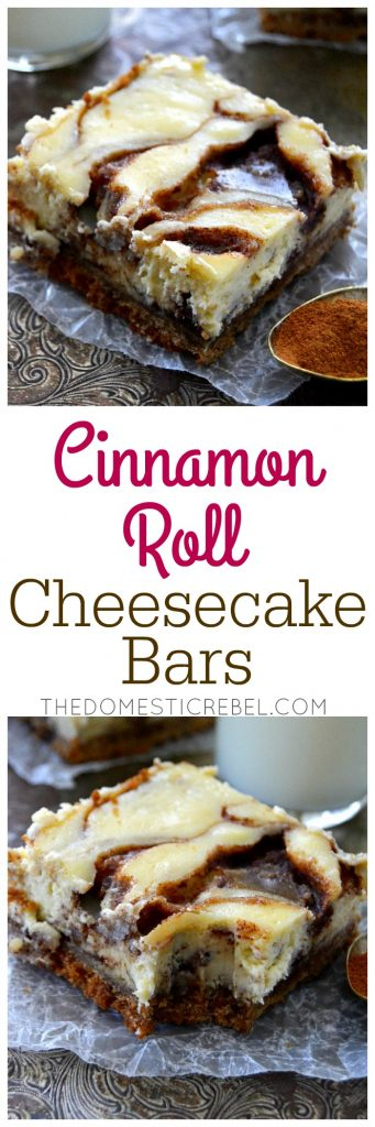 Cinnamon Roll Cheesecake Bars collage