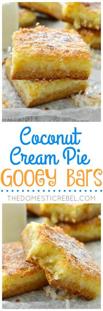 Coconut Cream Pie Gooey Bars collage